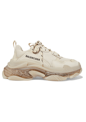 Balenciaga - Triple S Clear Sole Logo-embroidered Leather, Nubuck And Mesh Sneakers - Cream
