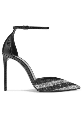 SAINT LAURENT - Zoe Striped Crystal-embellished Watersnake Pumps - Black