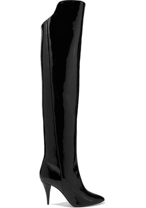 SAINT LAURENT - Kiki Patent-leather Over-the-knee Boots - Black