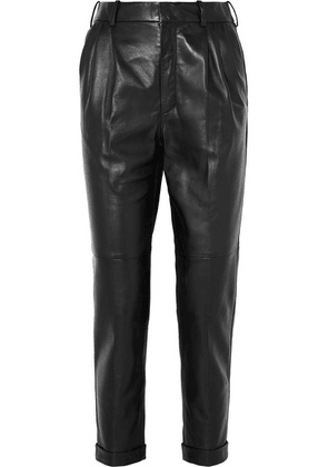 SAINT LAURENT - Leather Straight-leg Pants - Black