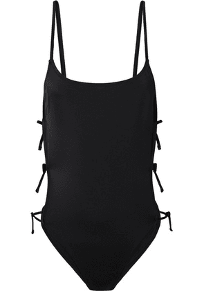 Solid & Striped - The Lily Lace-up Cutout Swimsuit - Black