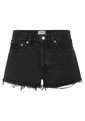 AGOLDE - Parker Frayed Denim Shorts - Black