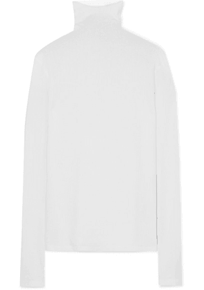 Bassike - Waffle-knit Cotton Turtleneck Top - White