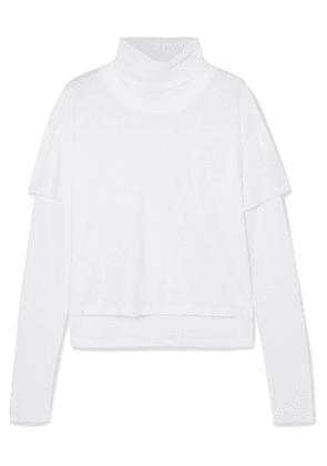 The Range - Stark Layered Cotton-jersey And Waffle-knit Turtleneck Top - White