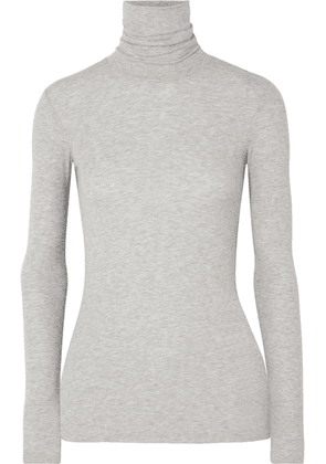 ATM Anthony Thomas Melillo - Ribbed Mélange Stretch-micro Modal Turtleneck Top - Gray