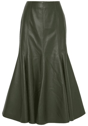 Gabriela Hearst - Amy Leather Midi Skirt - Army green