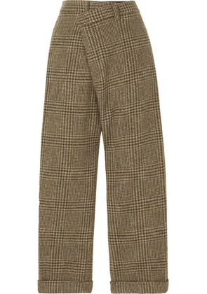 R13 - Cropped Prince Of Wales Checked Wool Straight-leg Pants - Brown