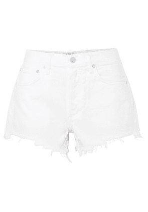 AGOLDE - Parker Frayed Denim Shorts - White