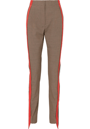 Burberry - Jersey-trimmed Houndstooth Wool And Cotton-blend Straight-leg Pants - Beige