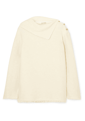 By Malene Birger - Cesana Button-detailed Frayed Tweed Top - White
