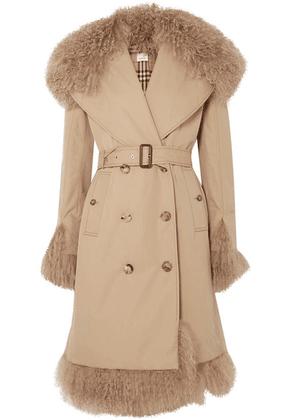 Burberry - Double-breasted Shearling-trimmed Cotton-gabardine Coat - Beige