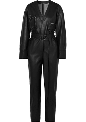 Sally LaPointe - Belted Faux Leather Jumpsuit - Black