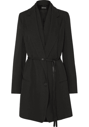 Ann Demeulemeester - Layered Satin-trimmed Wool And Cotton-blend Coat - Black