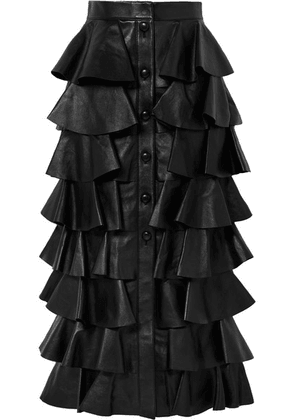 SAINT LAURENT - Tiered Ruffled Leather Maxi Skirt - Black
