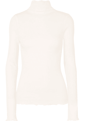 REMAIN Birger Christensen - Cenia Ribbed Cotton-jersey Turtleneck Top - White