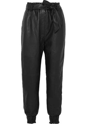 MUNTHE - Houdini Belted Tapered Leather Pants - Black