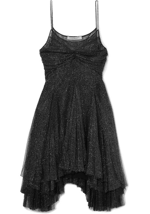 Philosophy di Lorenzo Serafini - Asymmetric Metallic Tulle Mini Dress - Black