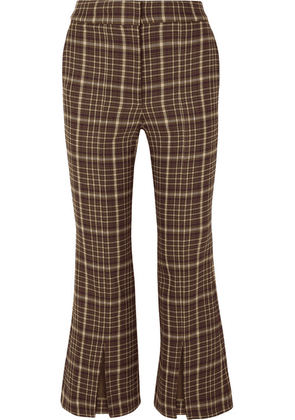 Adam Lippes - Cropped Checked Woven Flared Pants - Brown