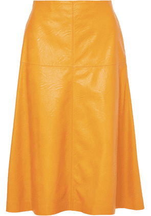 Stella McCartney - Faux Leather Midi Skirt - Yellow