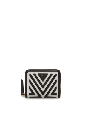 Mulberry Small Zip Around Purse in Black and White Patchwork