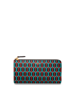 Mulberry Long Part Zip Wallet in Palm Green Printed Saffiano