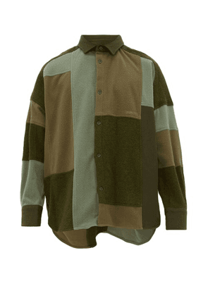 Ambush - Oversized Patchwork Fleece Overshirt - Mens - Green
