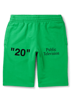 Off-White - Printed Embroidered Fleece-back Cotton-jersey Shorts - Green