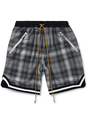 Rhude - Webbing-trimmed Checked Cotton Drawstring Shorts - Gray