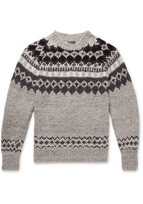Monitaly - + Chamula Fair Isle Merino Wool Sweater - Gray