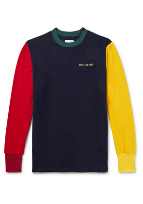 Aimé Leon Dore - Logo-embroidered Colour-block Fleece-back Jersey Sweatshirt - Multi