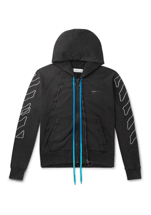 Off-White - Logo-embroidered Cotton-jersey Zip-up Hoodie - Black