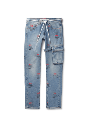 Off-White - Slim-fit Printed Denim Jeans - Blue