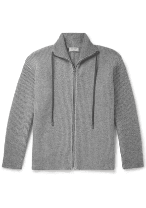 Maison Kitsuné - Ribbed Lambswool Zip-up Cardigan - Gray