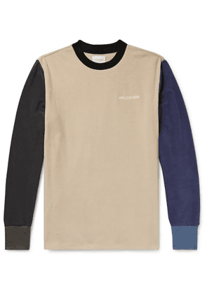 Aimé Leon Dore - Logo-embroidered Colour-block Fleece-back Jersey Sweatshirt - Beige