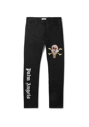 Palm Angels - + Icecream Slim-fit Logo-appliquéd Printed Denim Jeans - Black