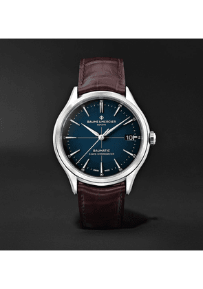 Baume & Mercier - Clifton Baumatic Automatic Chronometer 40mm Stainless Steel And Alligator Watch, Ref. No. M0a10517 - Blue