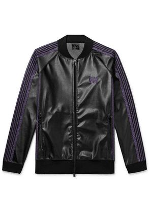 Needles - Logo-embroidered Webbing-trimmed Faux Leather Track Jacket - Black