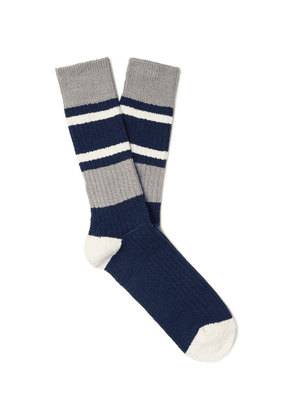Anonymous Ism - Striped Ribbed Cotton-blend Socks - Navy