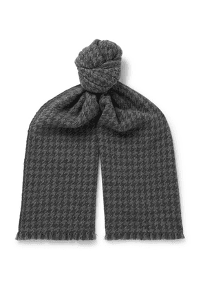 Loro Piana - Fringed Houndstooth Cashmere Scarf - Gray