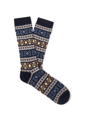 Anonymous Ism - Jacquard-knit Socks - Navy