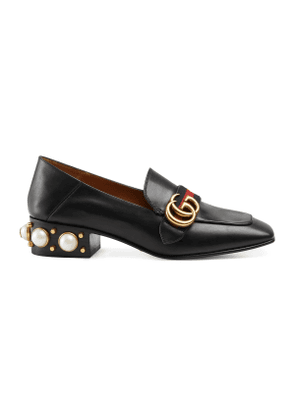 Leather mid-heel loafer