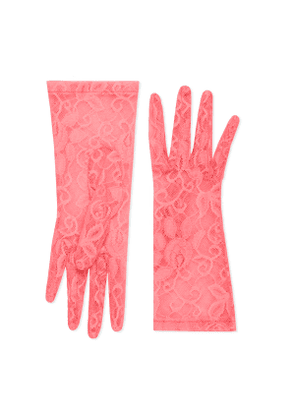 Tulle gloves with floral motif