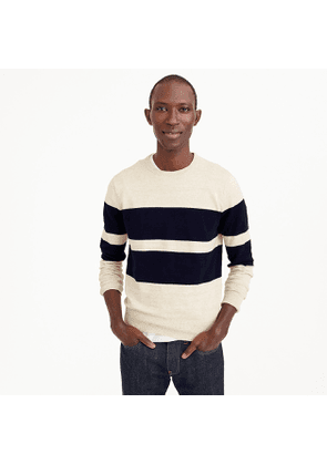 Rugged cotton crewneck sweater in bold stripe
