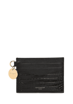 Croc Embossed Leather Card Holder