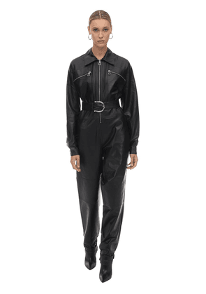 Long Belted Leather Jumpsuit