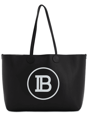 Embossed Logo Leather Tote Bag