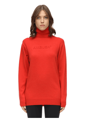 Embossed Wool Blend Knit Sweater