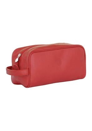 Classic Red Leather Washbag