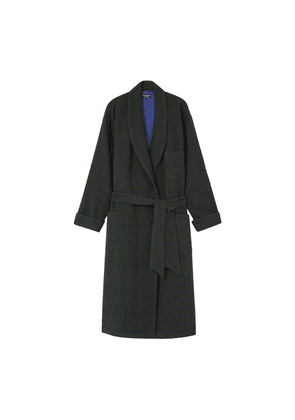 Green with Blue Check Wool Robe