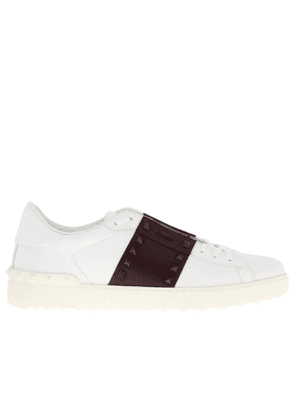 Trainers Open Rockstud Lace-up Genuine Leather Sneakers By Valentino Garavani With Contrasting Band